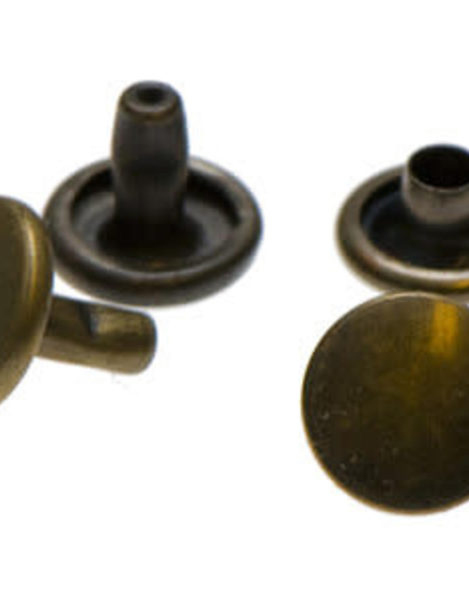 Holnieten 9mm - Brons - 10 stuks - DUBBELE KOP
