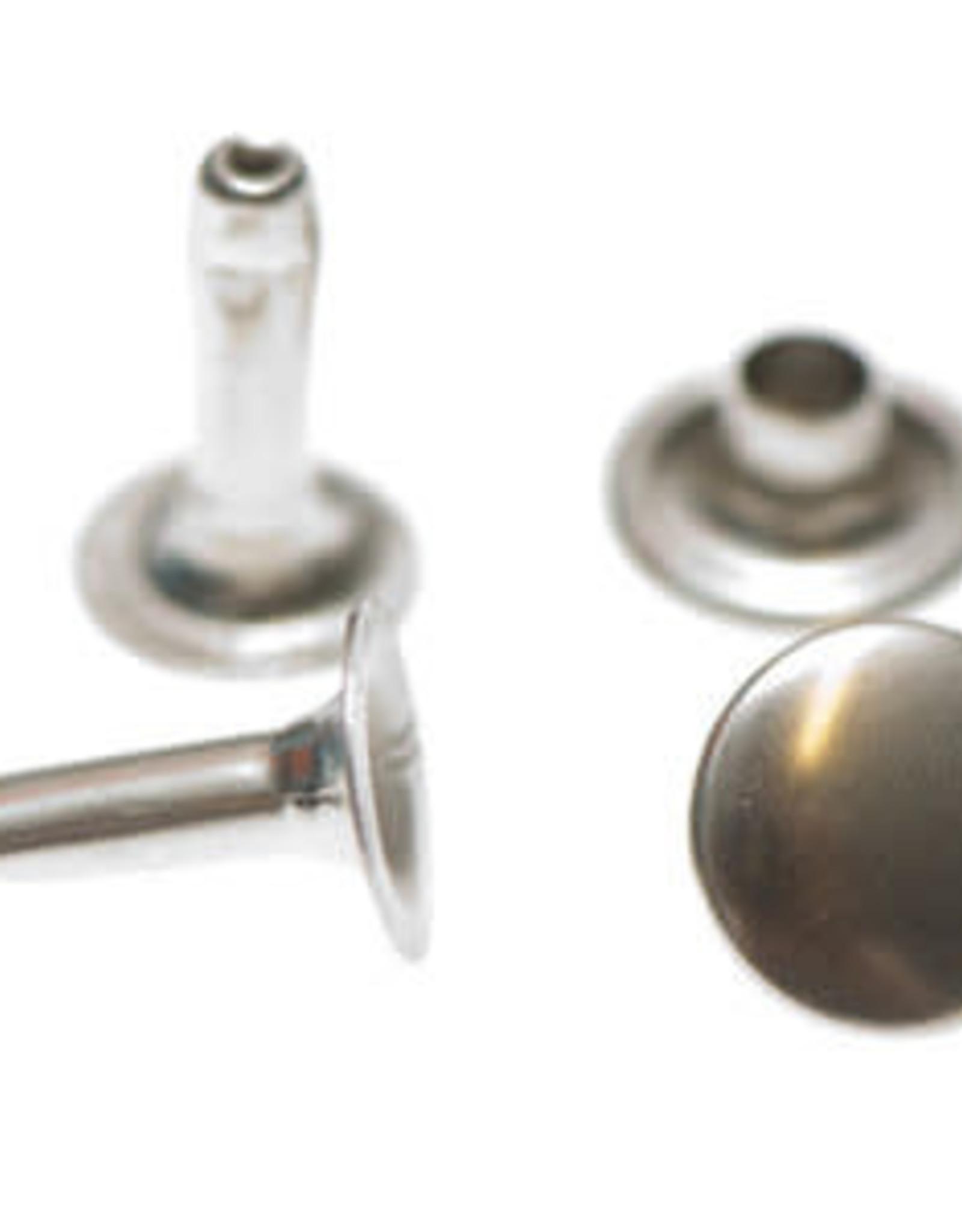 Holnieten 9mm - Nikkelkleurig - 10 stuks - LANGE PIN