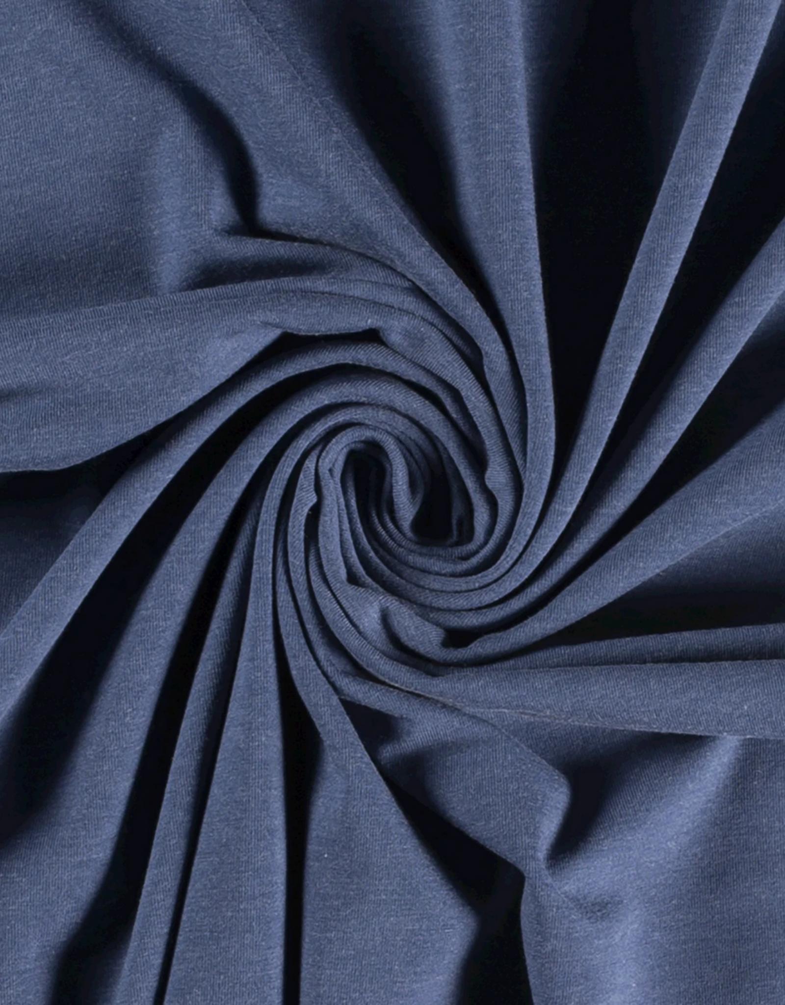 Katoentricot - Gemeleerd Jeansblauw