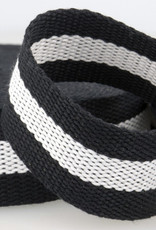 Tassenband - Zwart/Wit Gestreept - 40mm