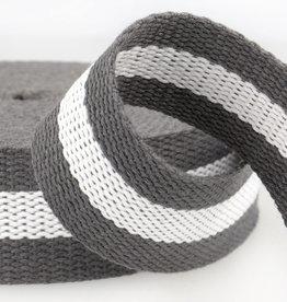 Tassenband - Grijs/Wit Gestreept - 40mm