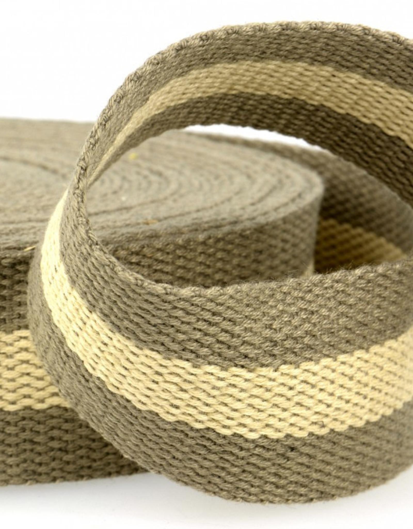 Tassenband - Taupe/Beige Gestreept - 40mm