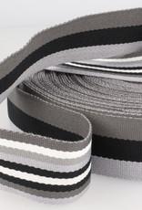 Tassenband - Double Sided Stripes Grijs - 40mm