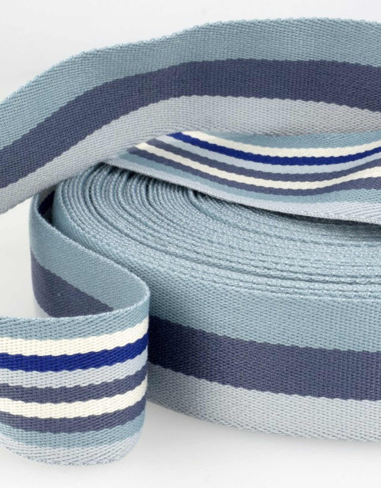 Tassenband - Double Sided Stripes Blauw - 40mm