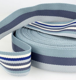 Tassenband - Double Sided Stripes Blauw - 40mm