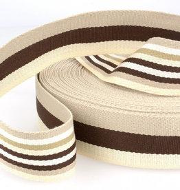 Tassenband - Double Sided Stripes Bruin - 40mm
