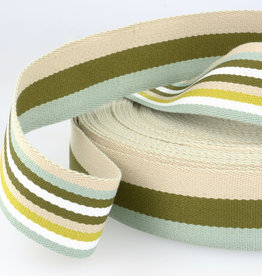 Tassenband - Double Sided Stripes Groen - 40mm