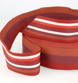 Tassenband - Double Sided Stripes Rood - 40mm