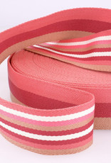Tassenband - Double Sided Stripes Roze - 40mm