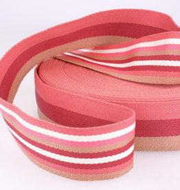 Tassenband - Double Sided Stripes Roze - 40mm