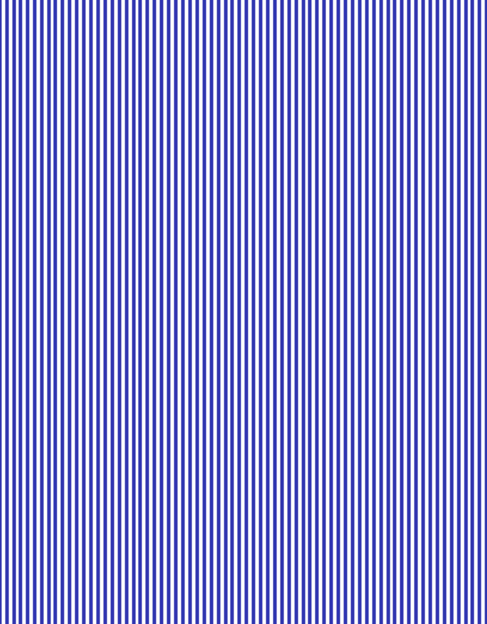 Boordstof Gestreept 1mm - Kobaltblauw/Wit