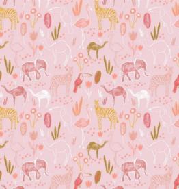 Katoen - Pink Safari