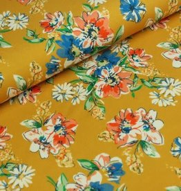 Megan Blue Tricot - Drawn Flowers - Yellow