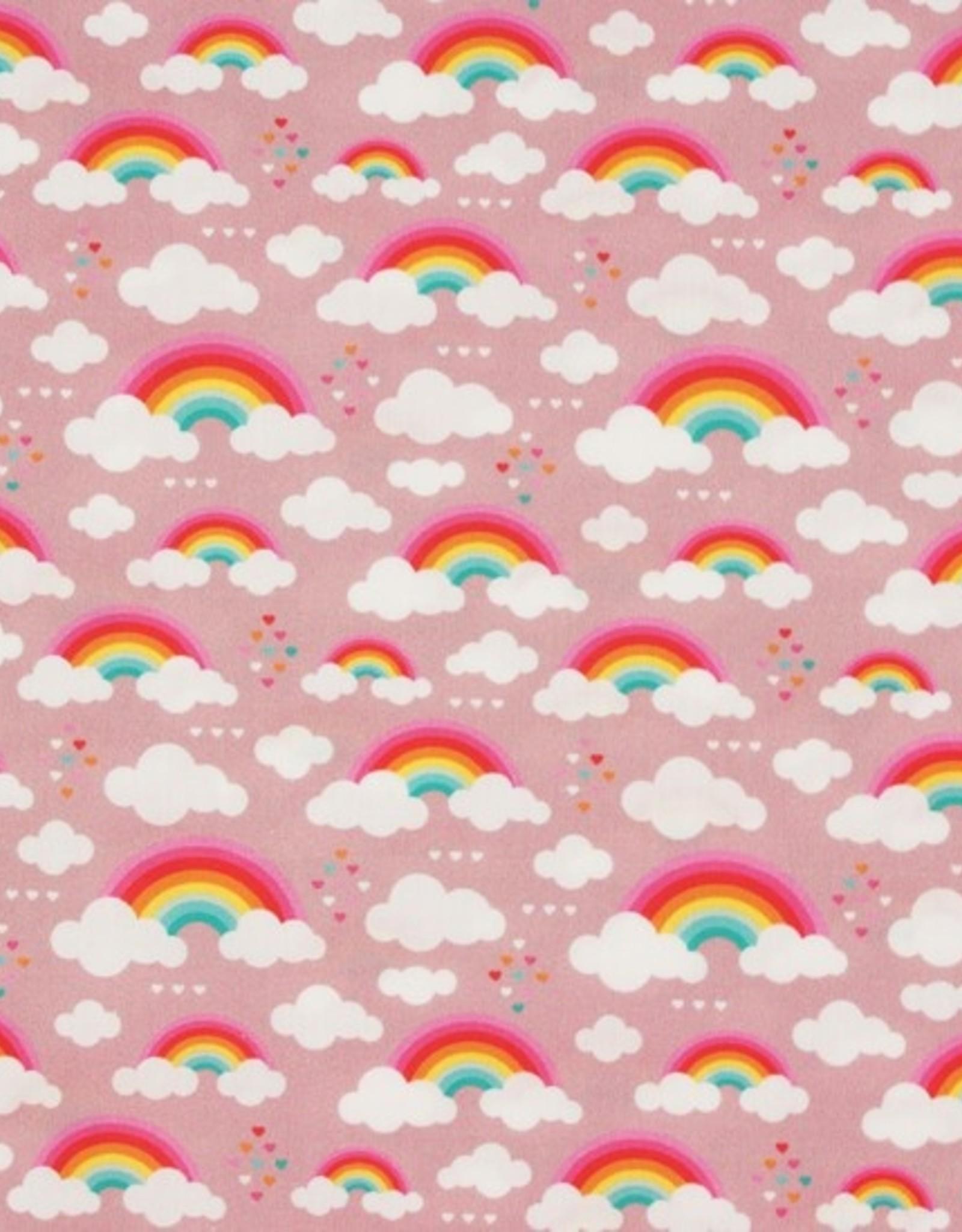 Katoen - Rainbow/Clouds Dusty Pink