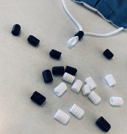 Siliconen koordstopper cilinder - Zwart (10 stuks)