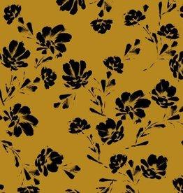 Modal Tricot - Black Flowers Ochre