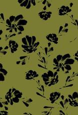 Modal tricot - Black Flowers Green