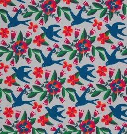 French Terry -Birds 'n Flowers Grey