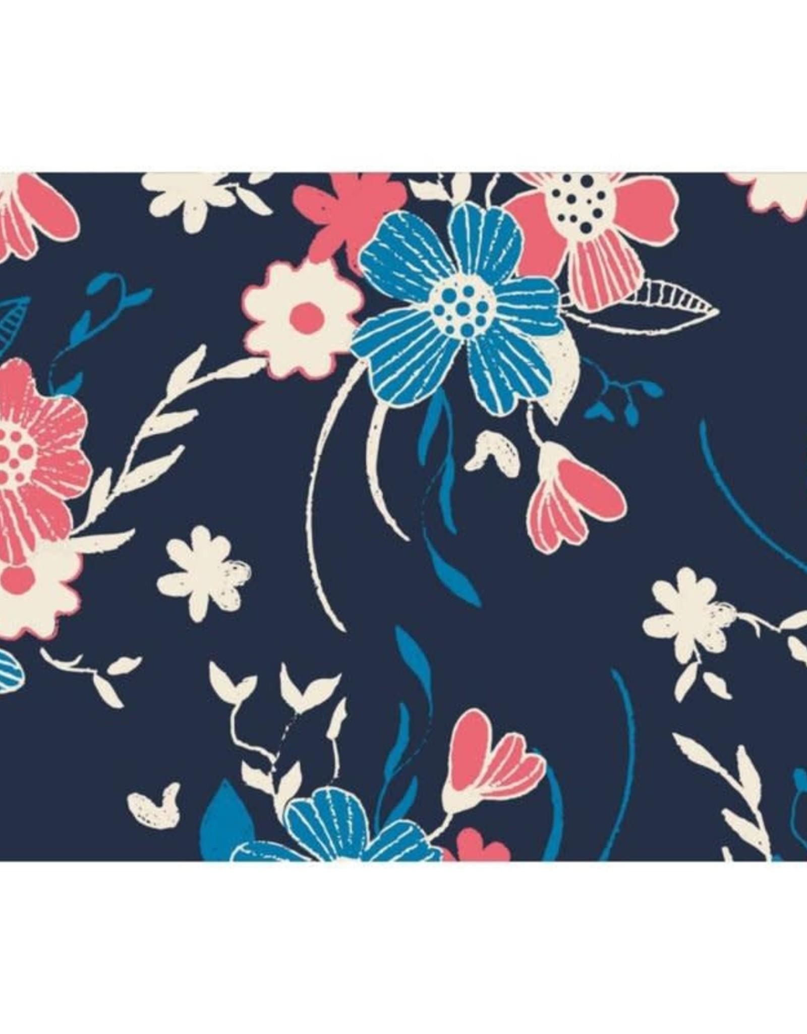Megan Blue Tricot - Flowers Outline Navy