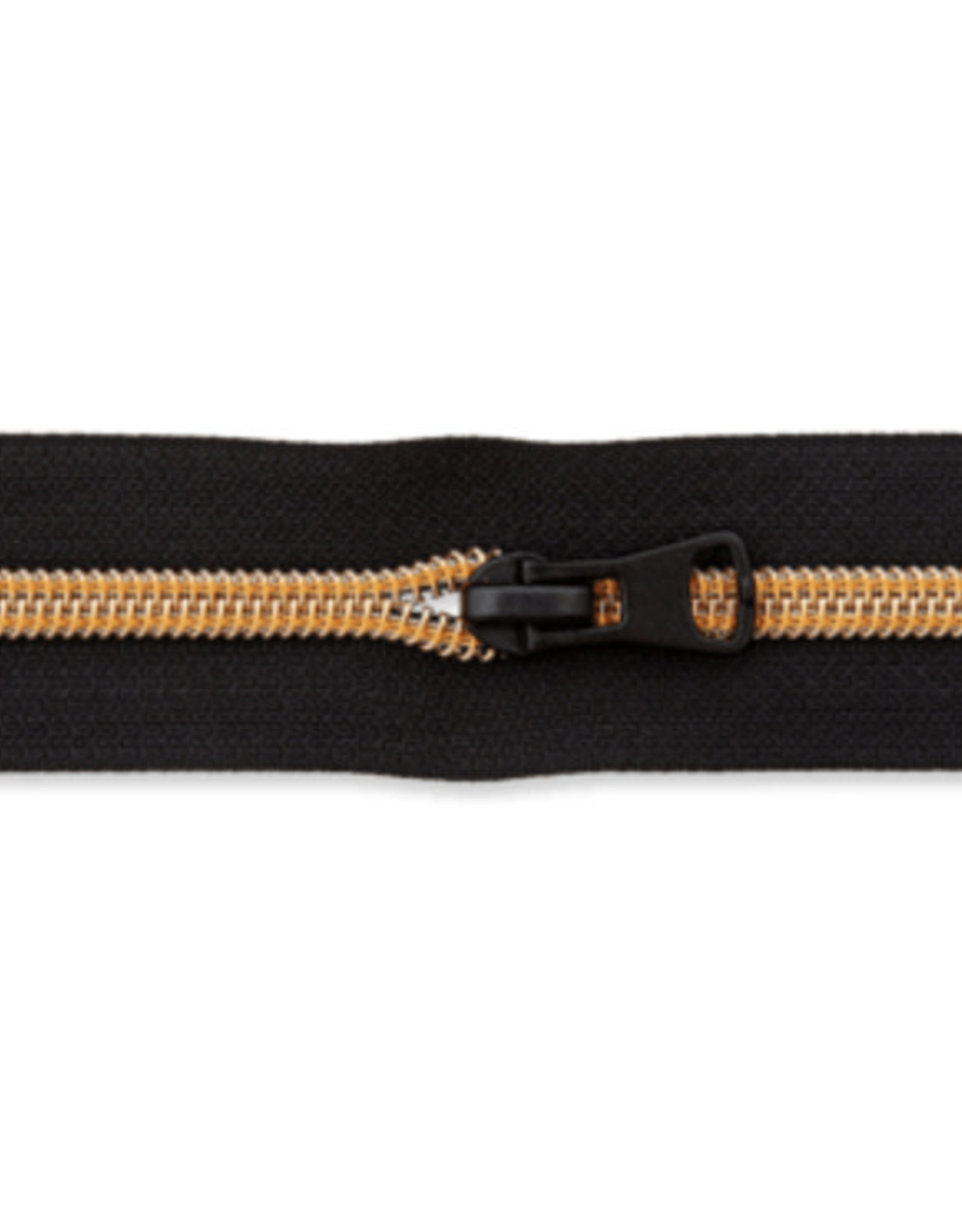 Rits op rol (incl. 1 trekker) - Zwart/DonkerGeel- Size 7
