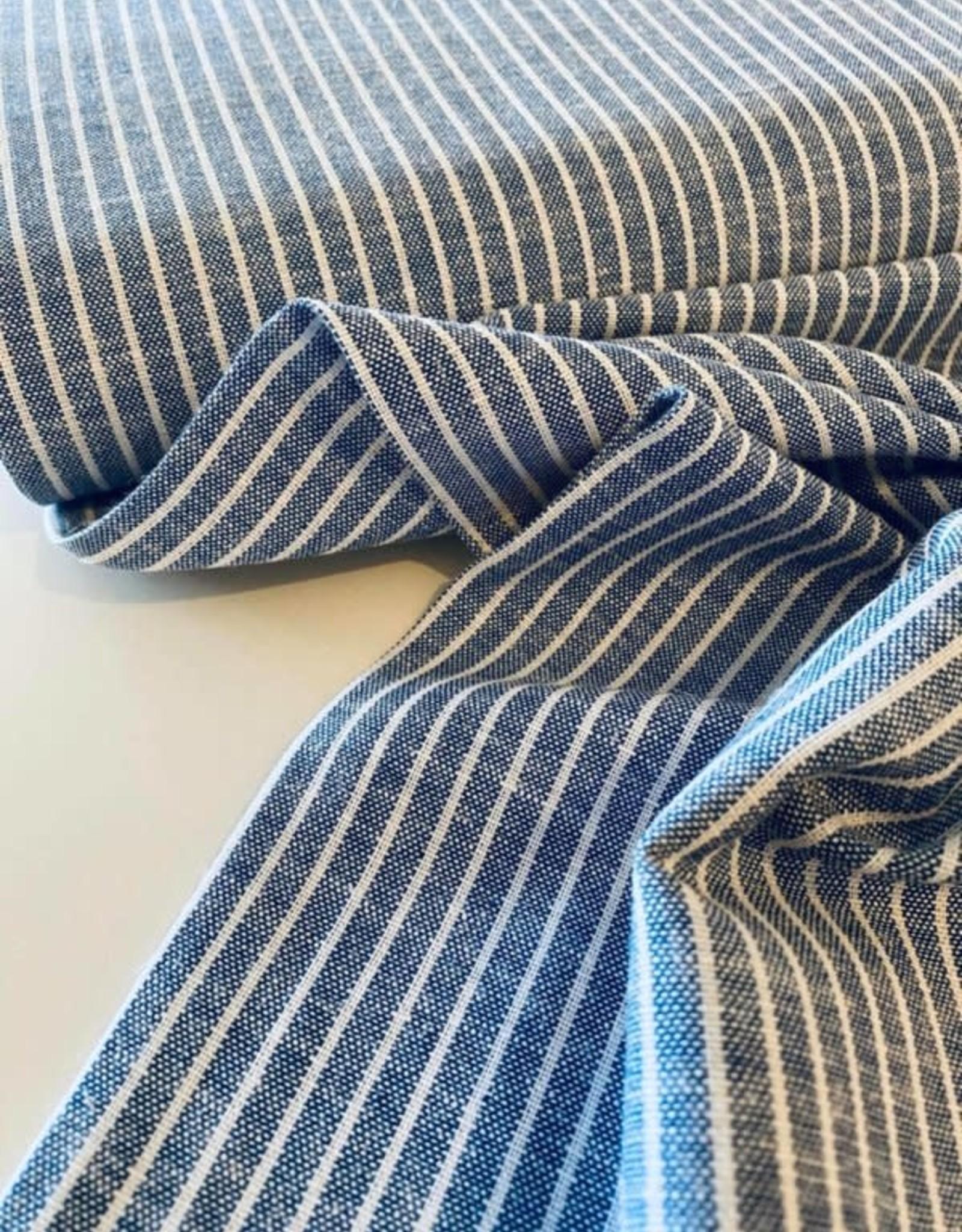 Viscose-linnen - Kobalt Stripes Gemeleerd