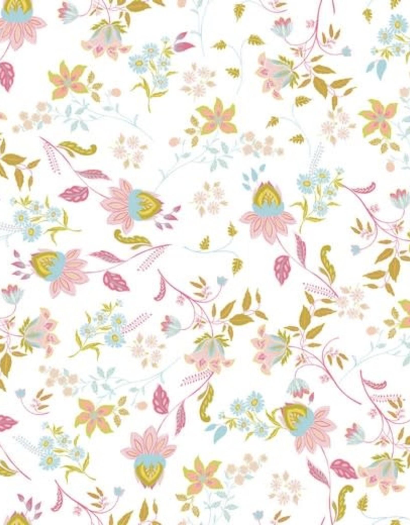 Katoen - Lovely Flowers White