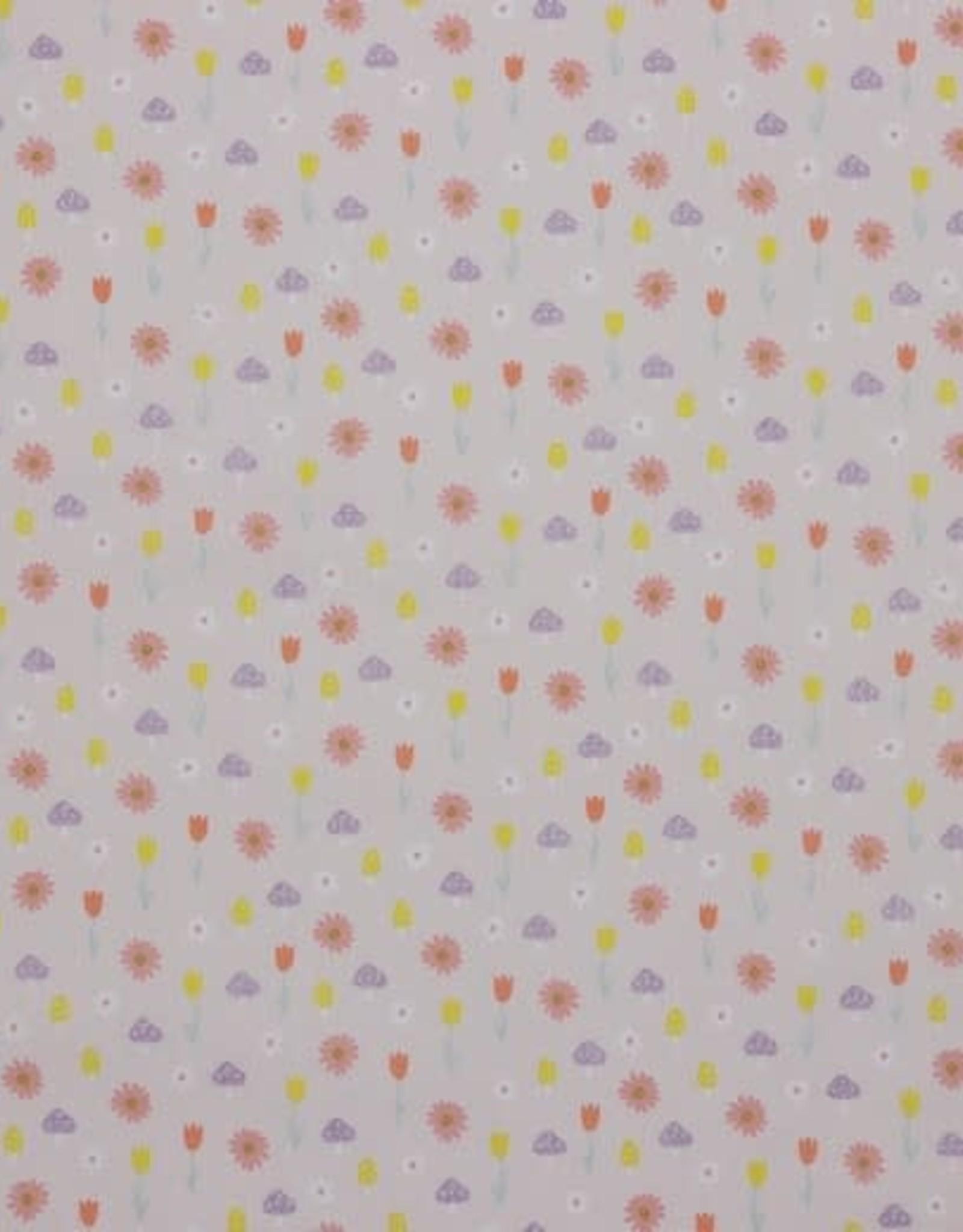Katoen - Glitter Lila flowery