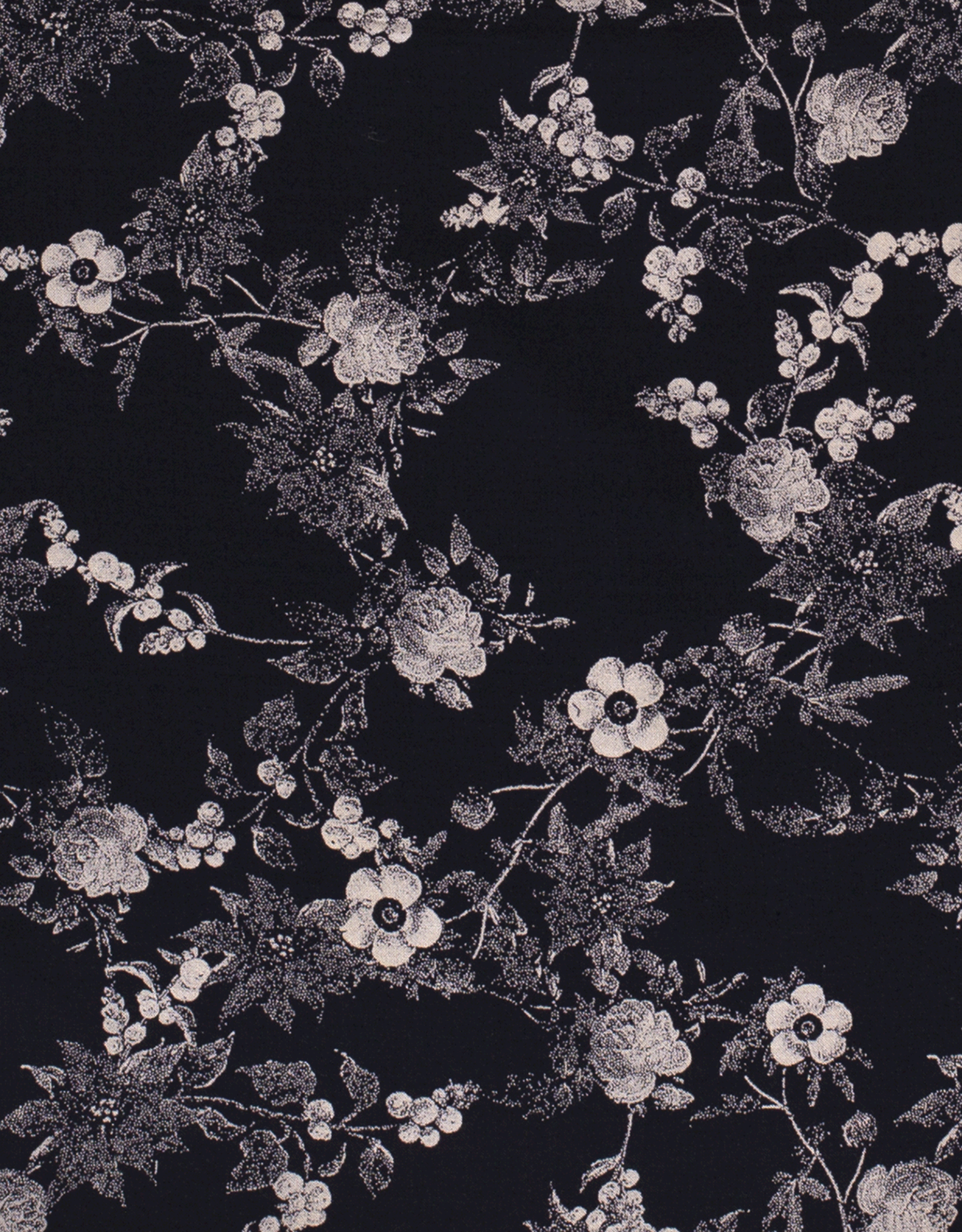 Viscose - Dotted Flowery Navy