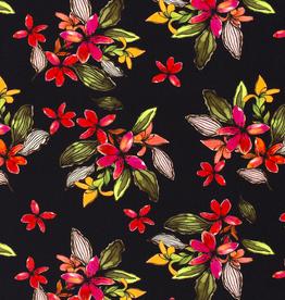 Viscose - Digital Flowers Black