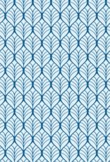 Katoen - Leaves Marine/Lichtblauw
