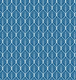 Katoen - Leaves Wit/Kobaltblauw
