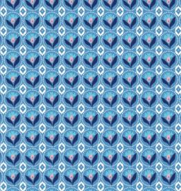 Katoen - Retro Flower - Blauw