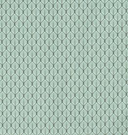 Katoen - Leaves Mint/Grijs
