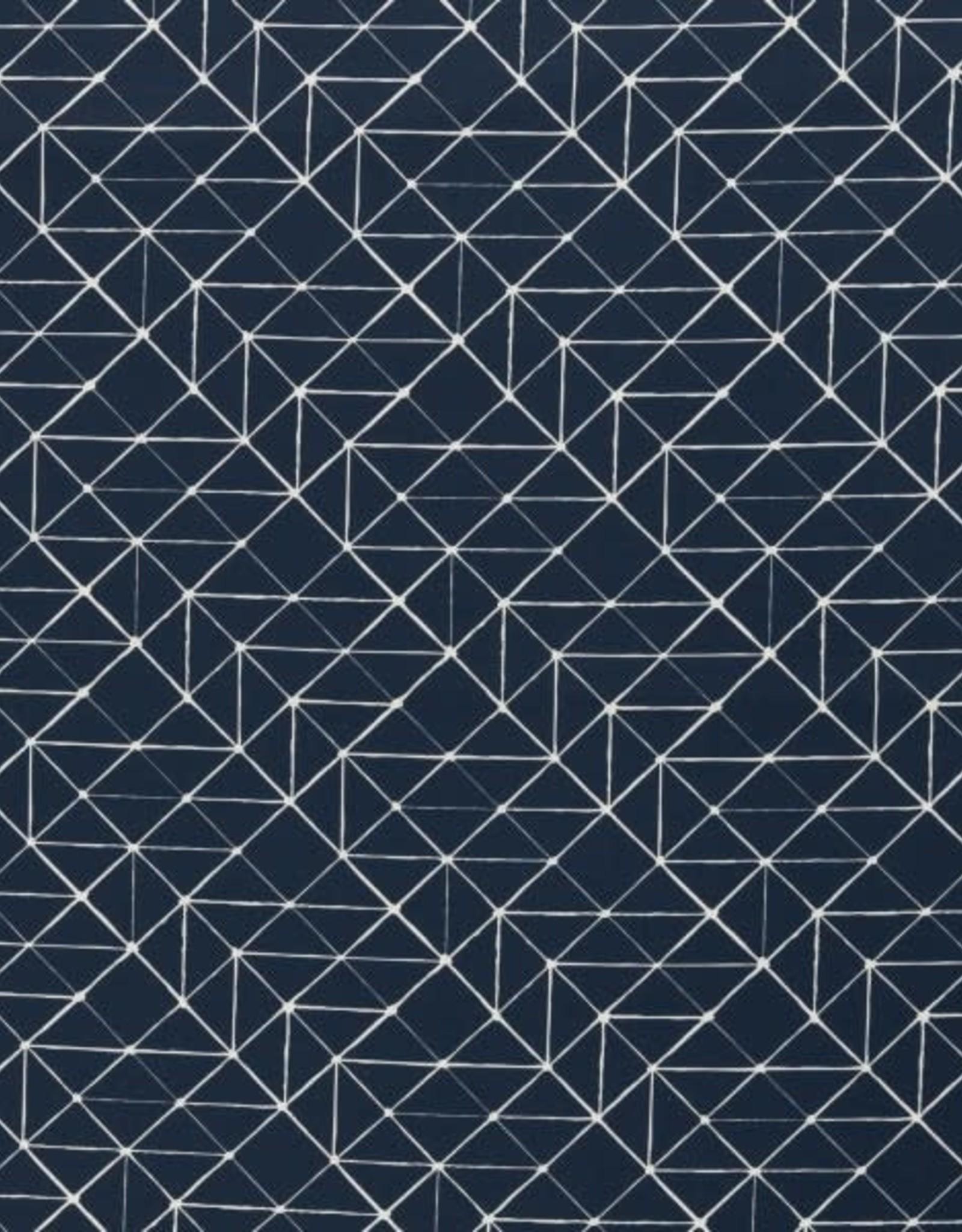Katoen - Geo Lines Marineblauw