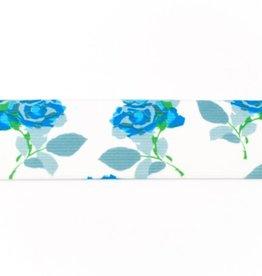 Bedrukte elastiek 40mm - White/Blue Roses