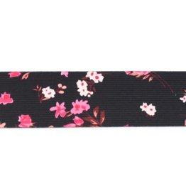 Bedrukte elastiek 40mm - Black/Pink Roses