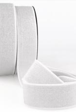 Glitterelastiek 40mm - Wit/Zilver
