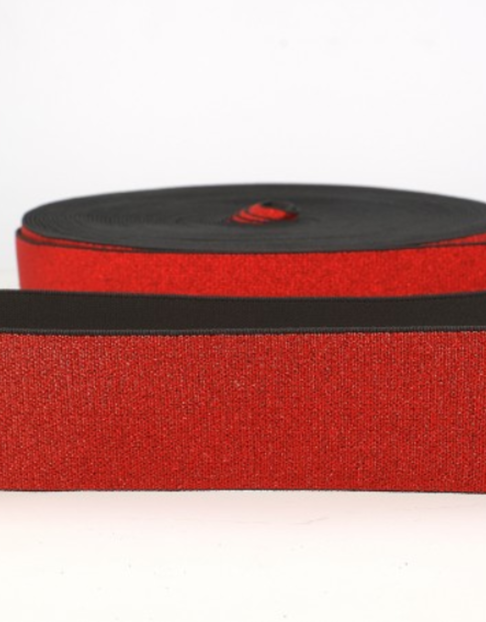 Glitterelastiek  Soft 40mm - Rood