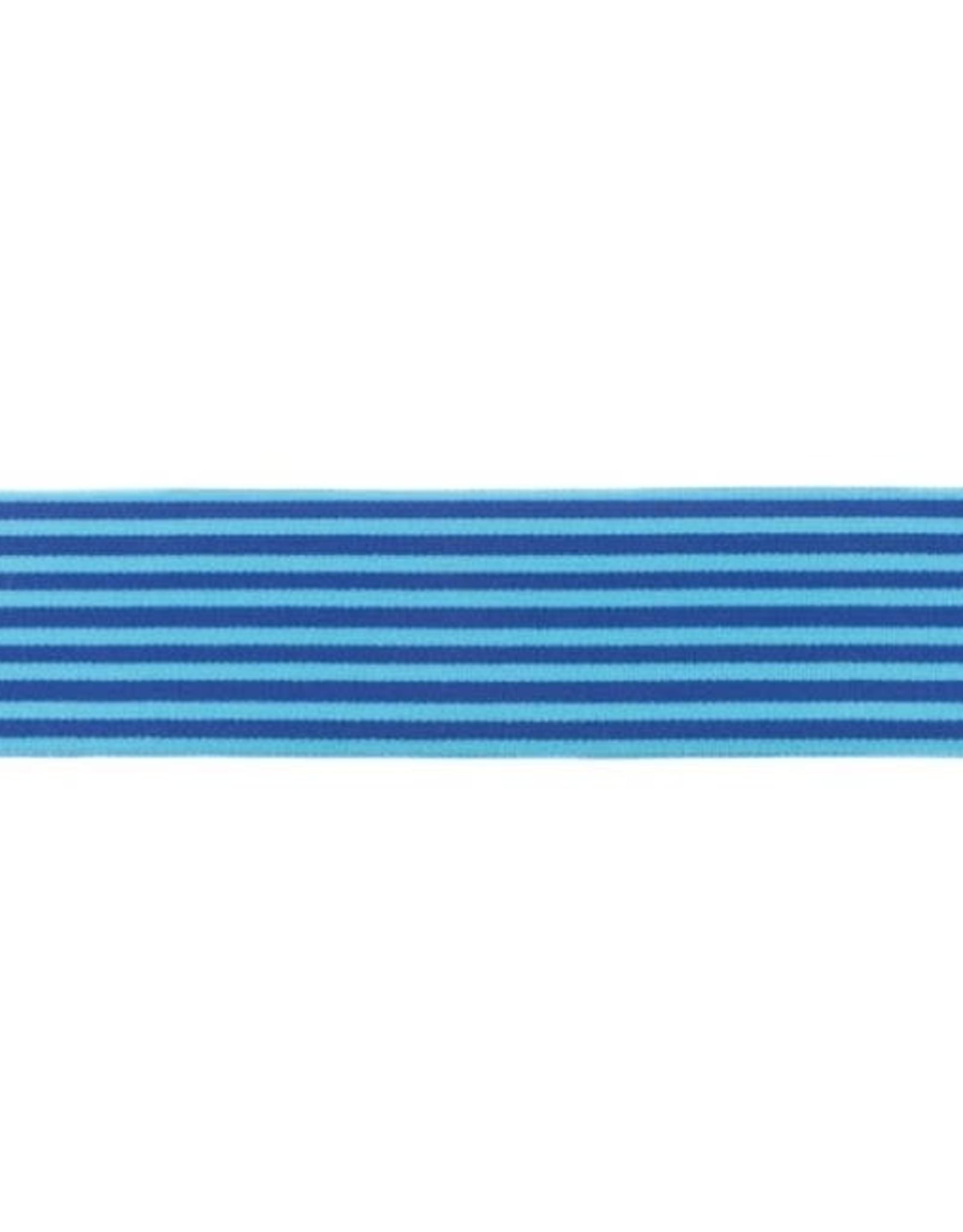 Zachte Gestreepte Elastiek 40mm - Blauw