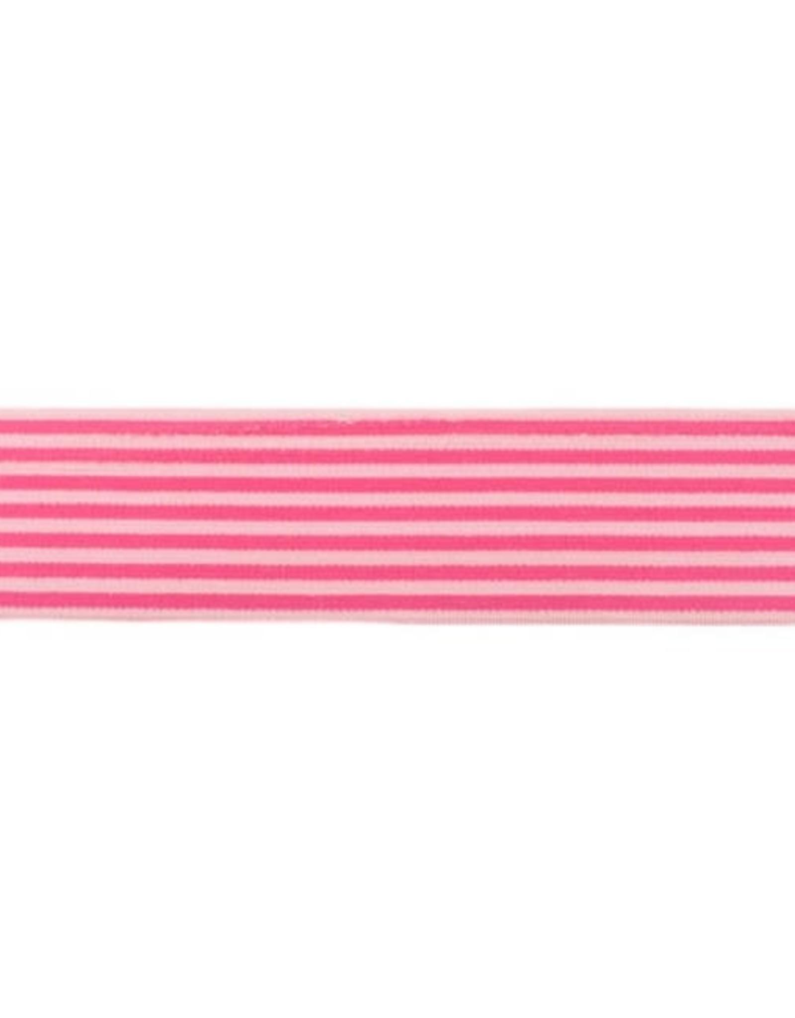 Zachte Gestreepte Elastiek 40mm - Roze