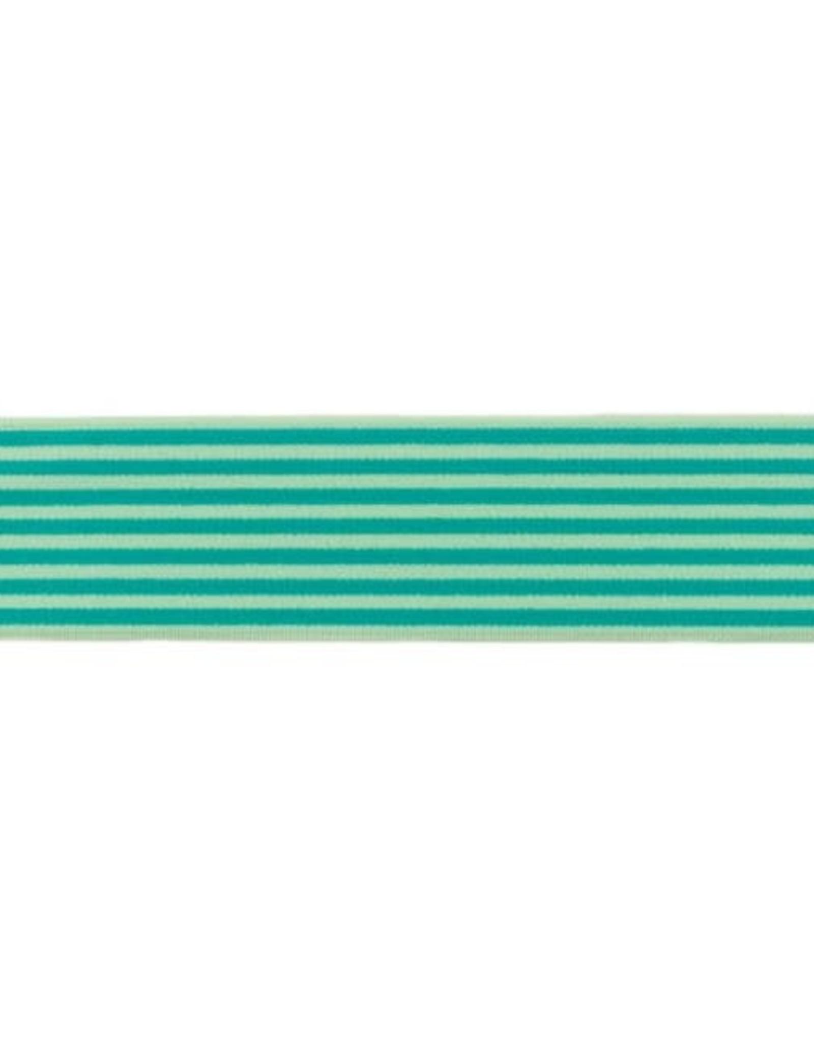 Zachte Gestreepte Elastiek 40mm - Groen