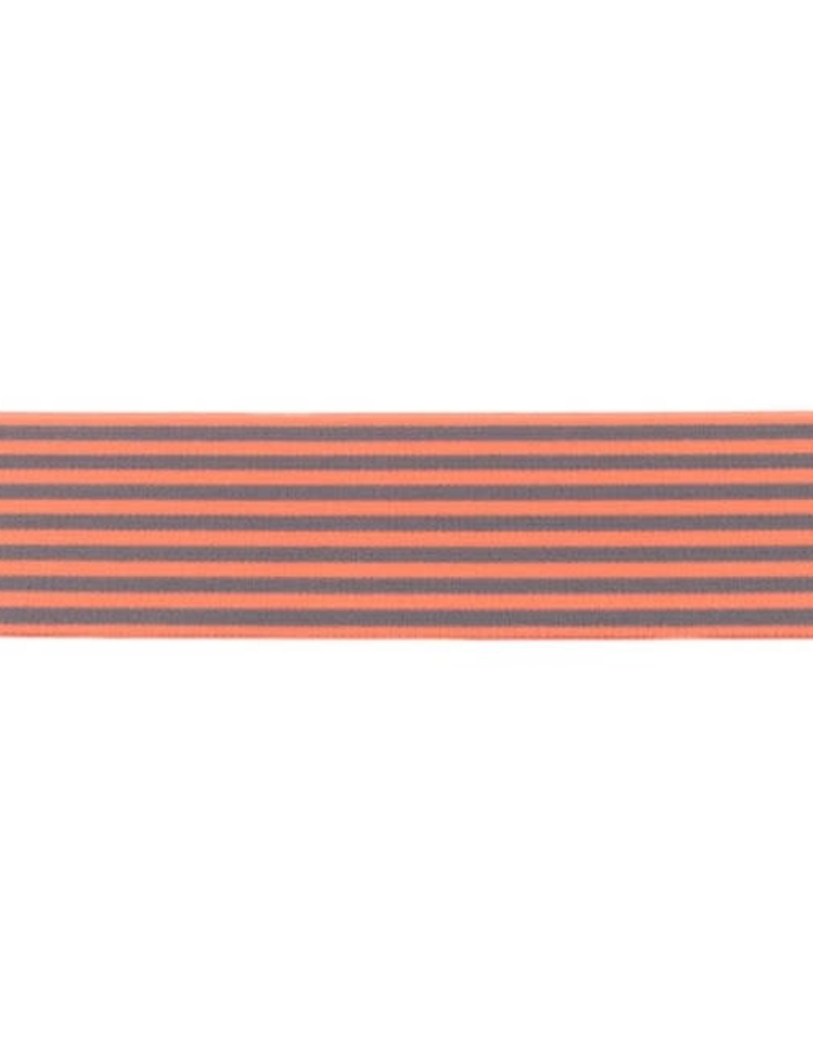 Zachte Gestreepte Elastiek 40mm - Oranje