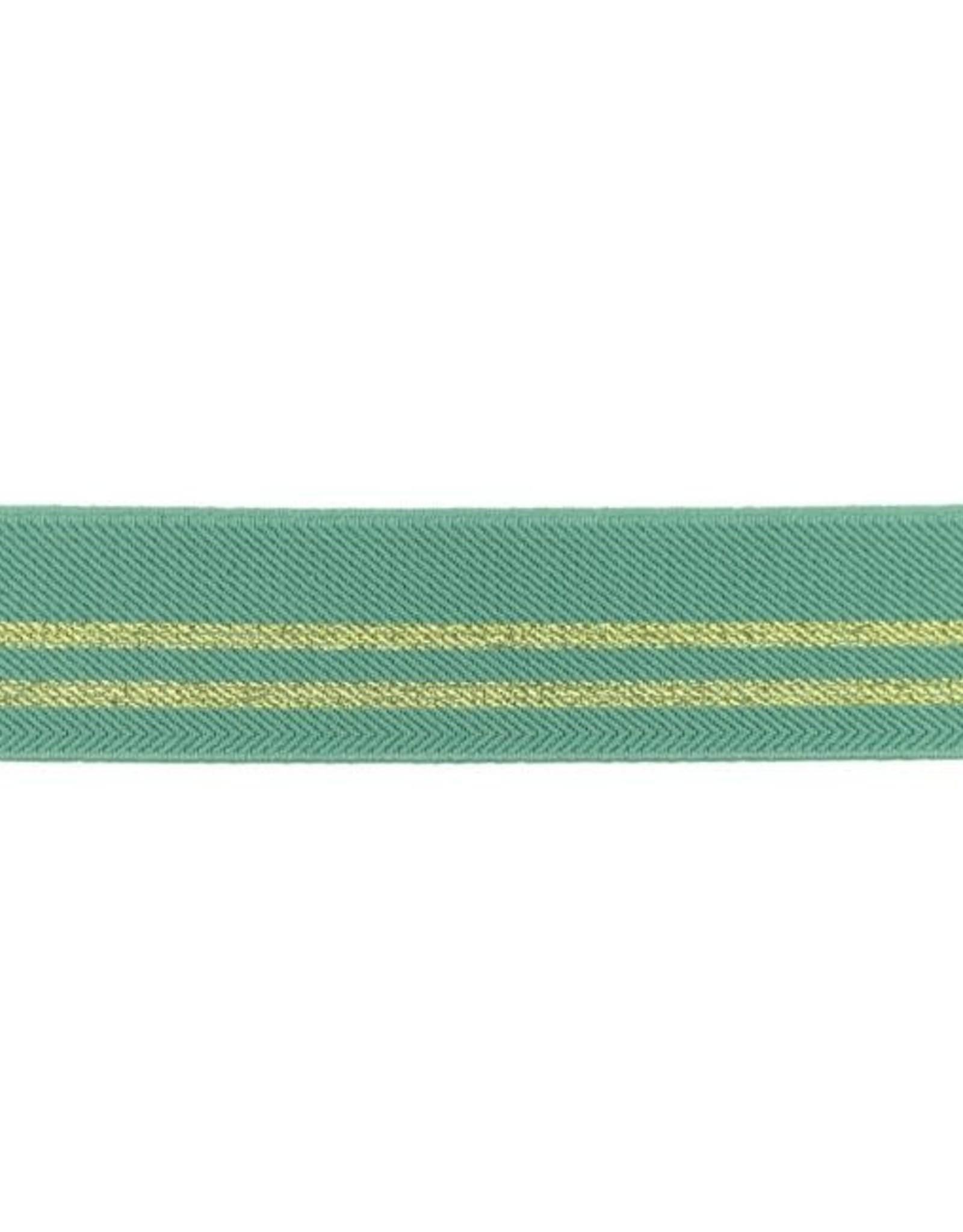 Gestreepte elastiek 30mm - Oudgroen/Goud