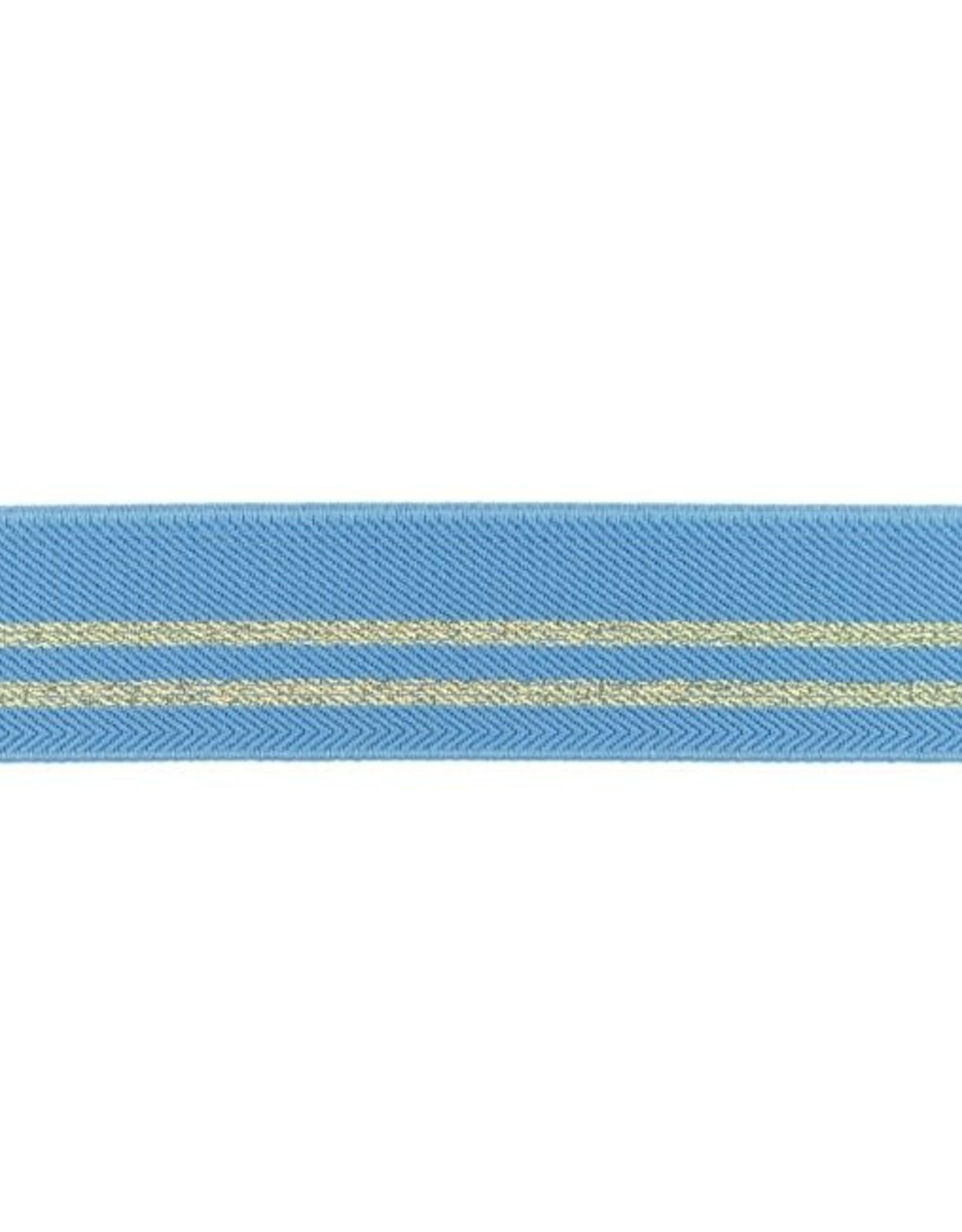 Gestreepte elastiek 30mm - Jeansblauw/Goud