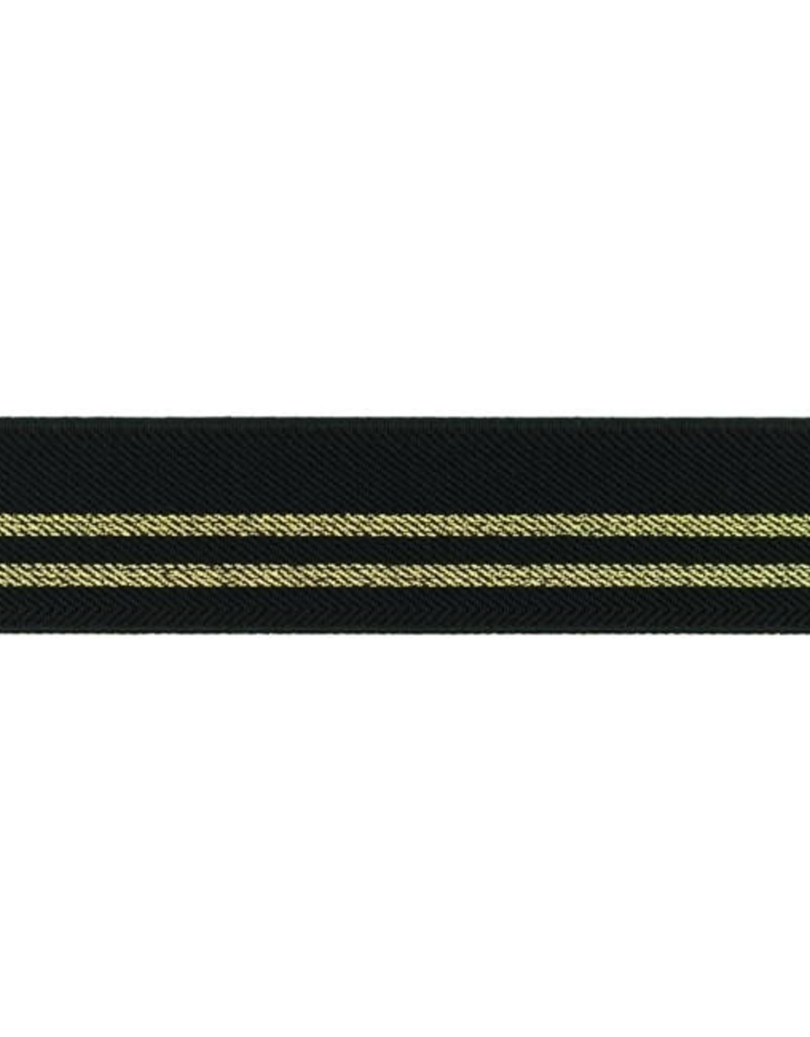 Gestreepte elastiek 30mm - Zwart/Goud