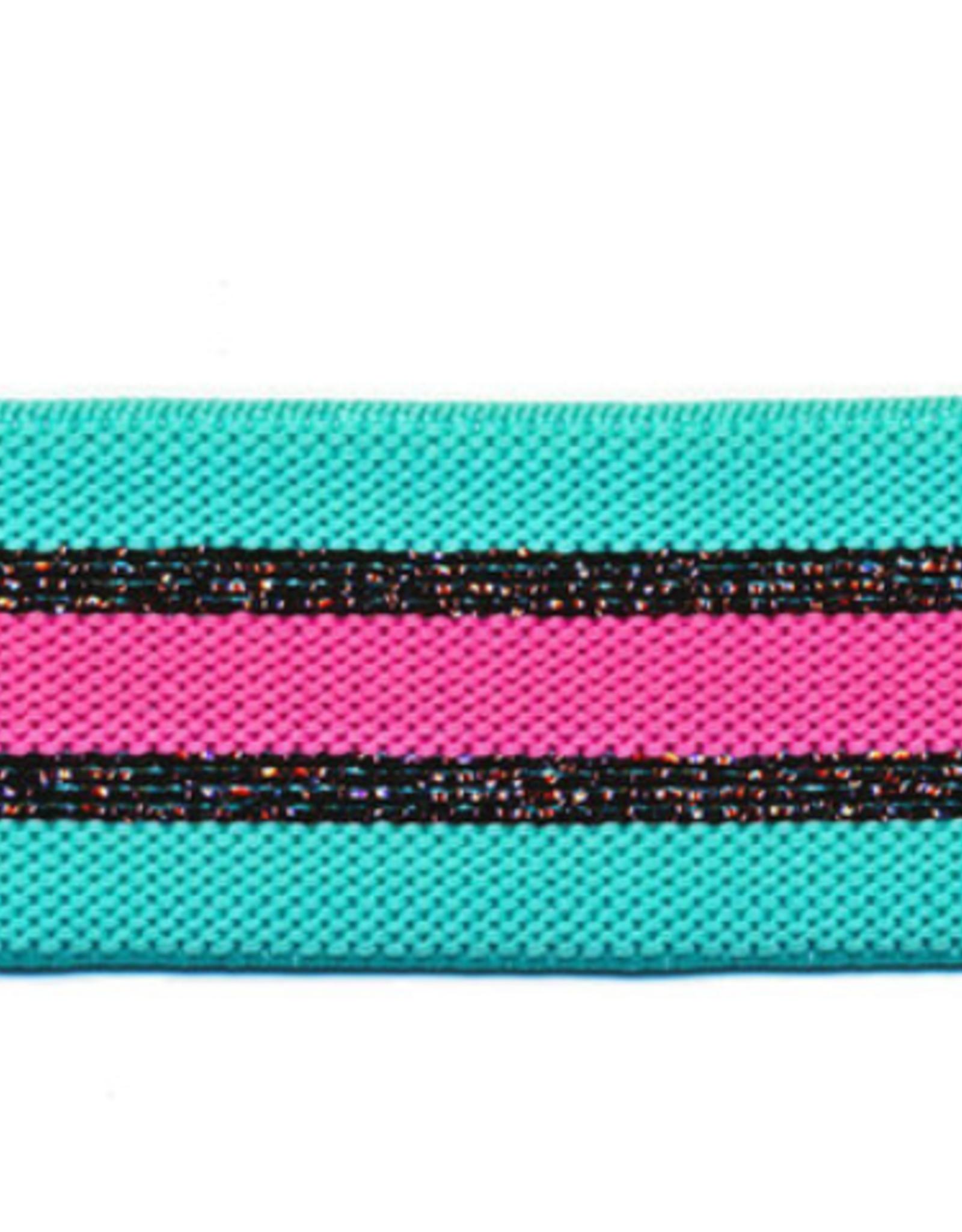 Gestreepte elastiek 30mm - Appelblauwzeegroen/Roze