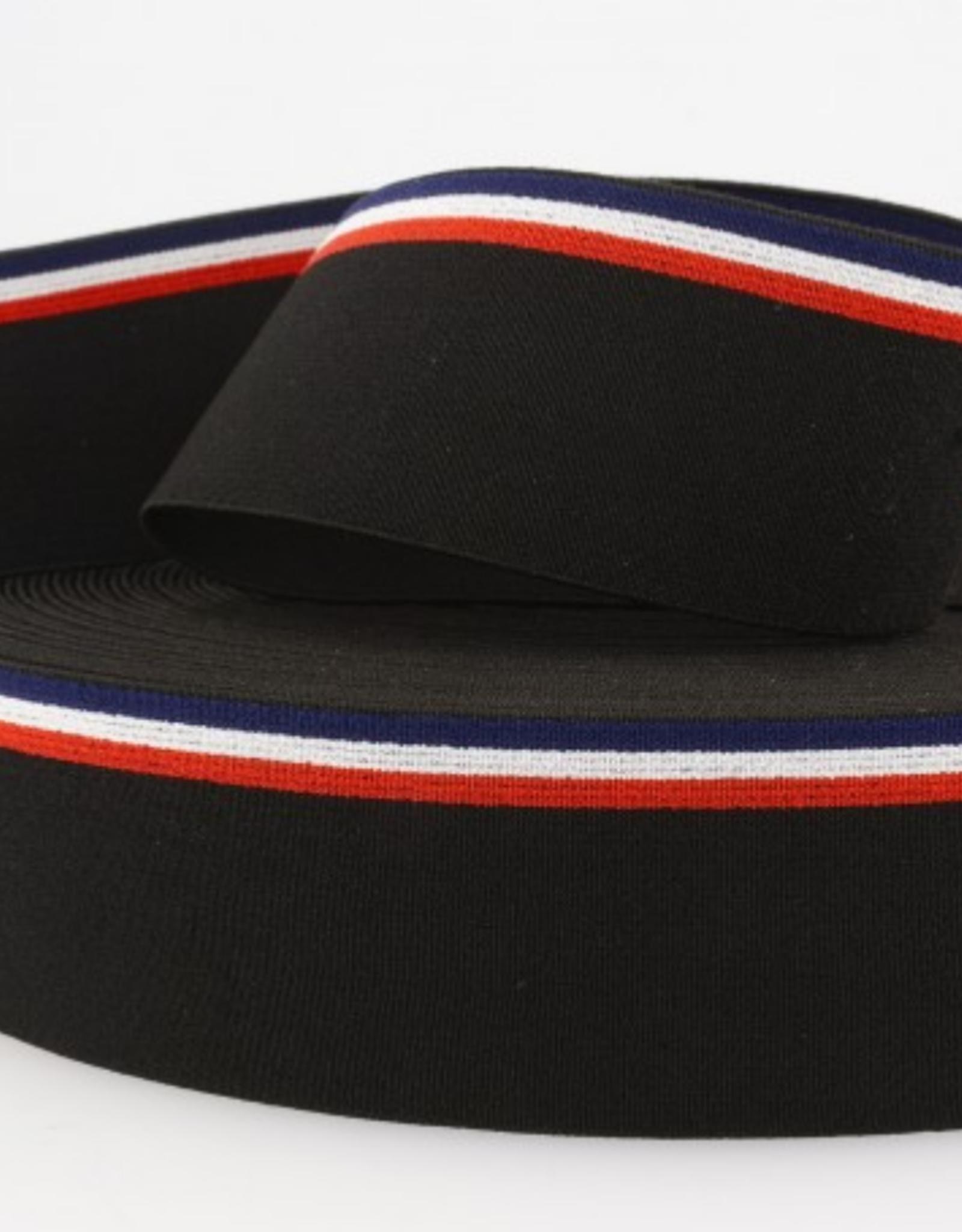 Elastiek 40mm - Stripes Black/Red/White/Blue