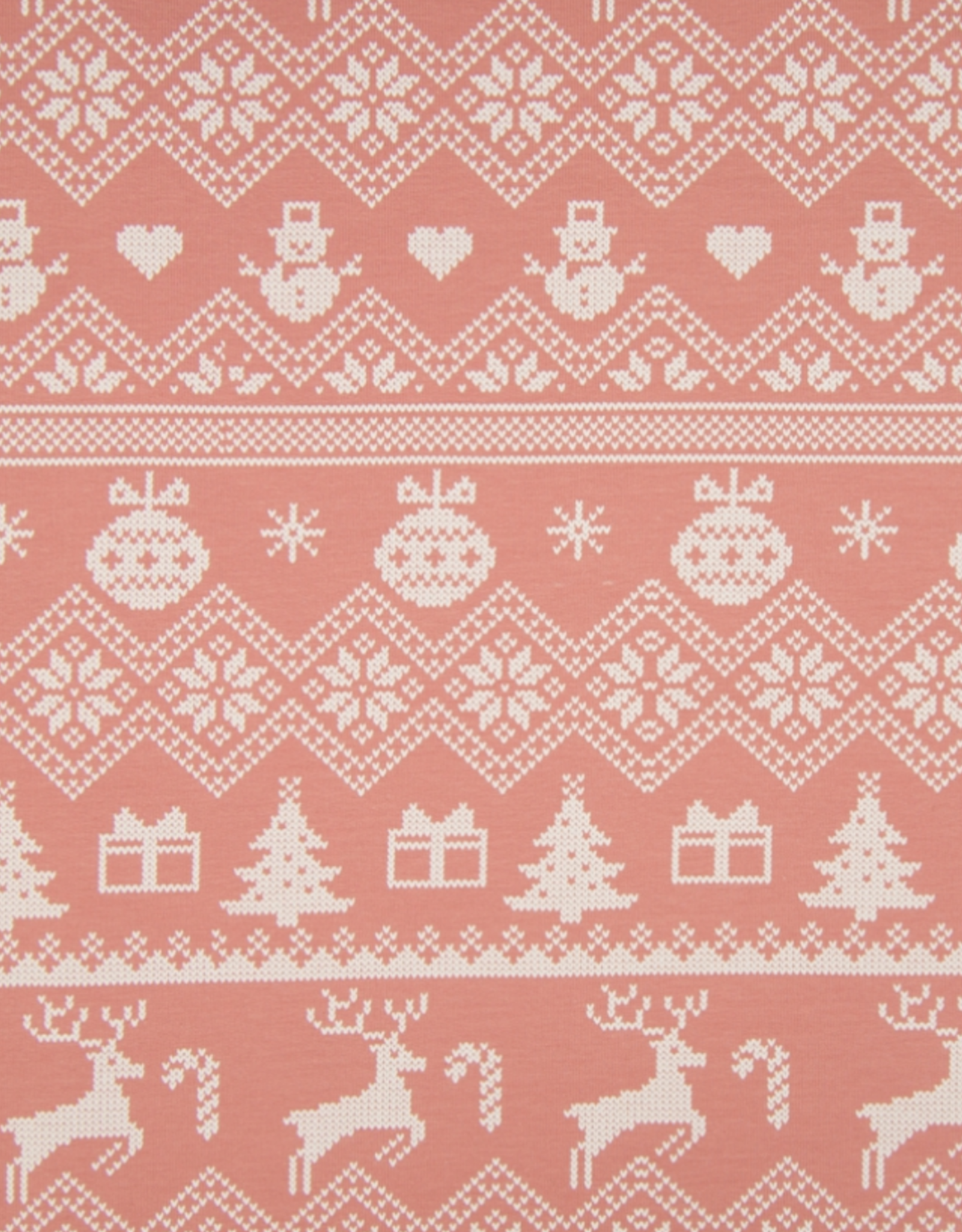 Brushed French Terry - Christmas Time Pink