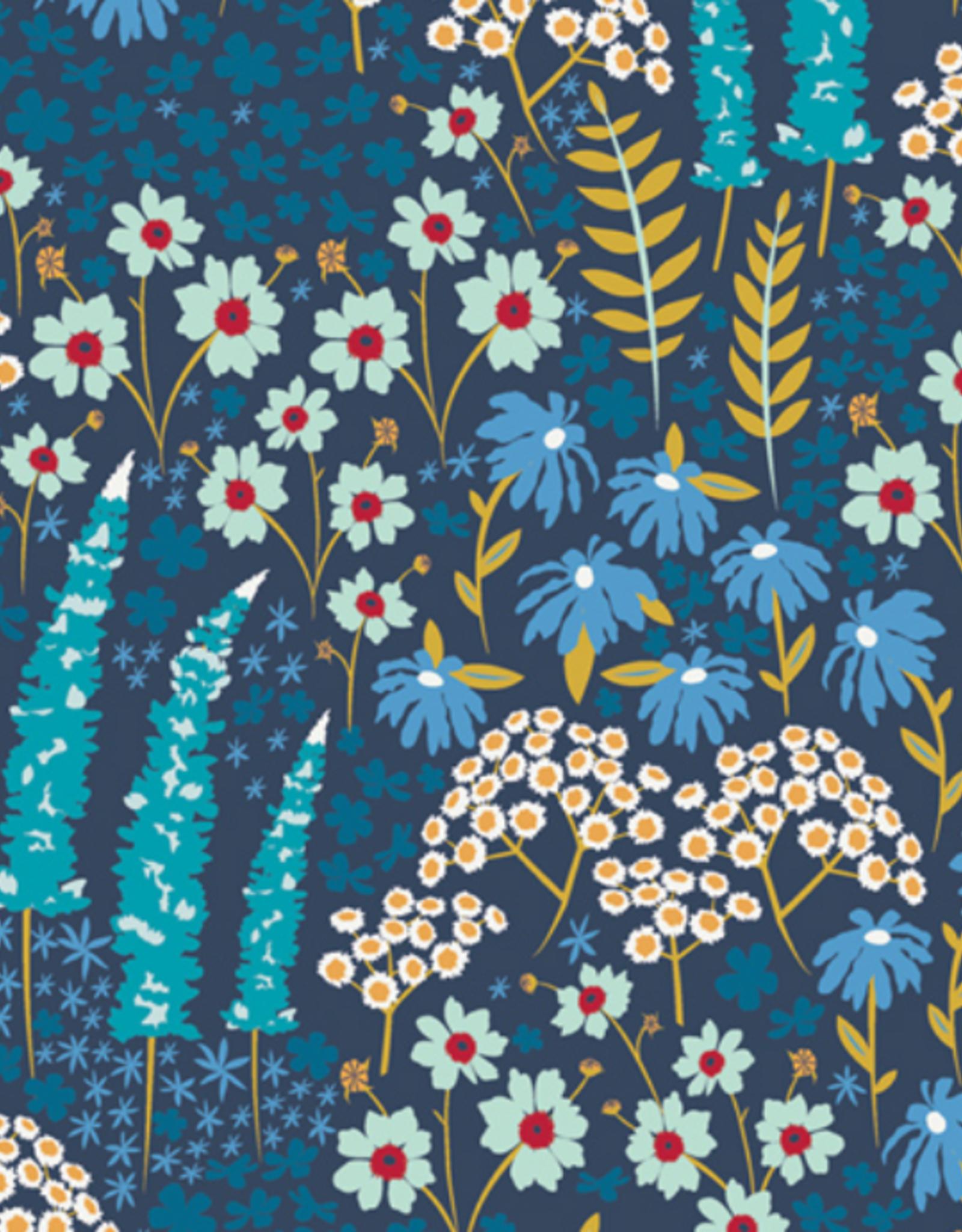 Art Gallery Fabrics Katoen - Blue Blank Flora