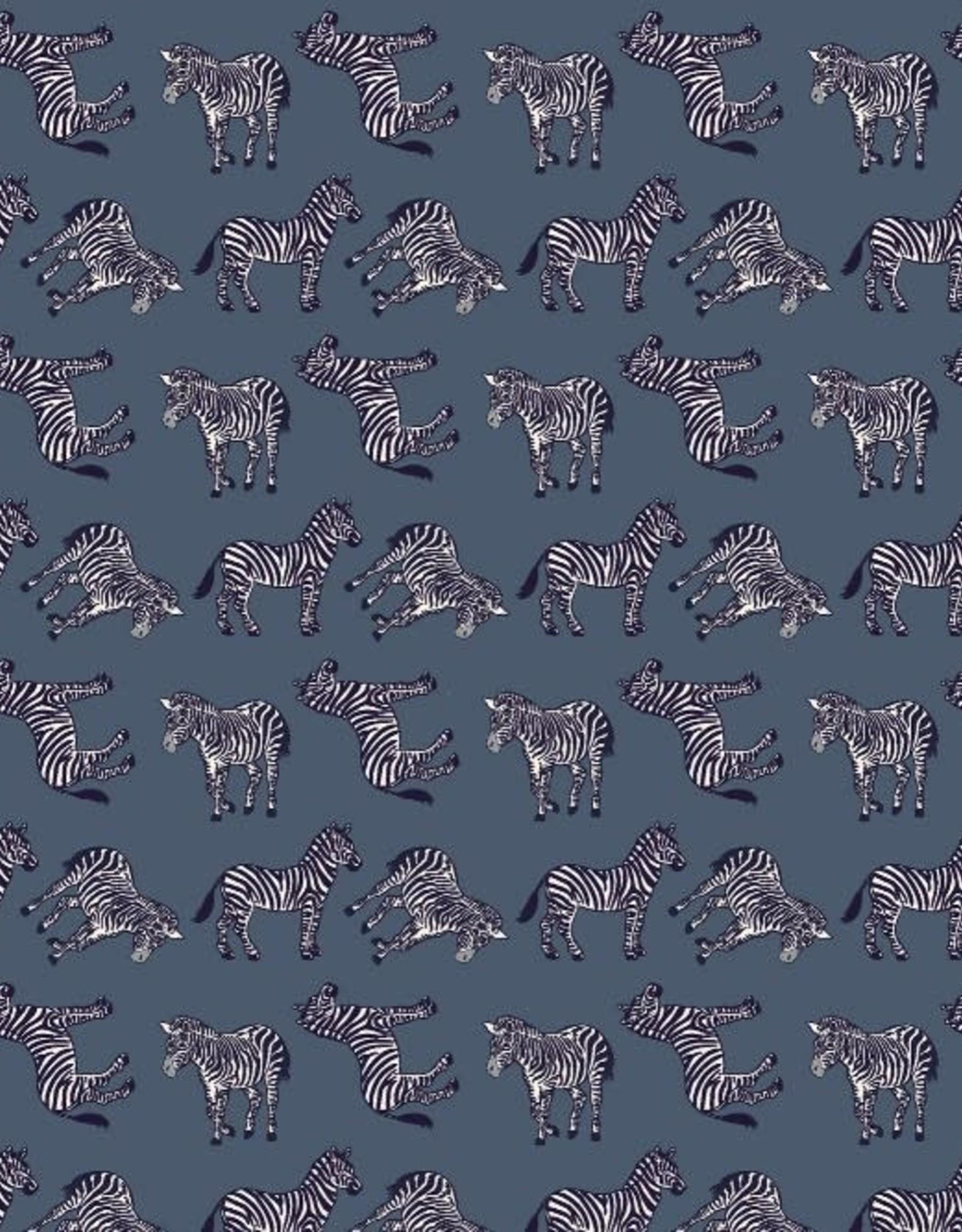 Katoen - Zebra Navy
